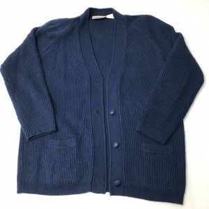 VTG 80's Oversized Blue Cardigan Sweater / Buttons